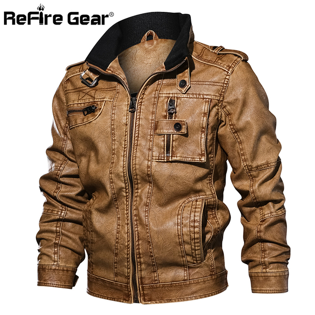 ReFire Gear Men's PU Leather Jacket Winter Military Pilot Bomber Jackets Autumn Fashion Outerwear Motorcycle Biker Leather Coat