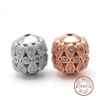 Wysokiej Jakości 11x12mm w kształcie Stożka Rocznika Kwiat Wzór Micro Pave CZ Cyrkon 925 Sterling Silver Beads dla Biżuterii SB-CZ614