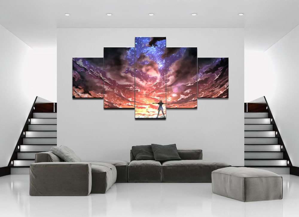 Canvas HD Print 5 Pieces Anime Modulars Picture For Modern Decorative Bedroom Living Room Home Unique gift Wall Art Decor in Painting Calligraphy from Home Garden