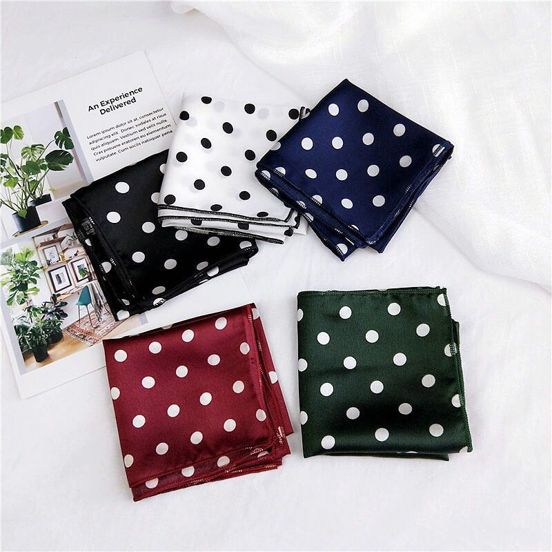 50X50CM Fashion Women Square silk   Scarf   All-match   Wraps   Elegant Dot Head   scarf   Neck   scarves   Hair&Tie Band Neckerchief foulard