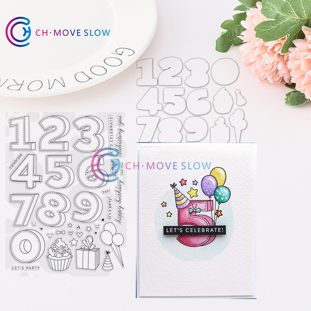 US $2 0 20% OFF|CH BIRTHDAY NUMBERS Metal Cutting Dies and stamps DIY  Scrapbooking Card Stencil Paper Craft Handmade-in Cutting Dies from Home &
