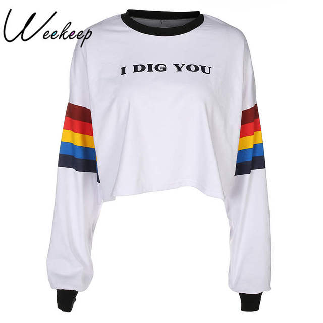 Weekeep White Long Sleeve Rainbow Printed t shirt Women Loose O-neck  Letters Crop Top 3a7d9f951