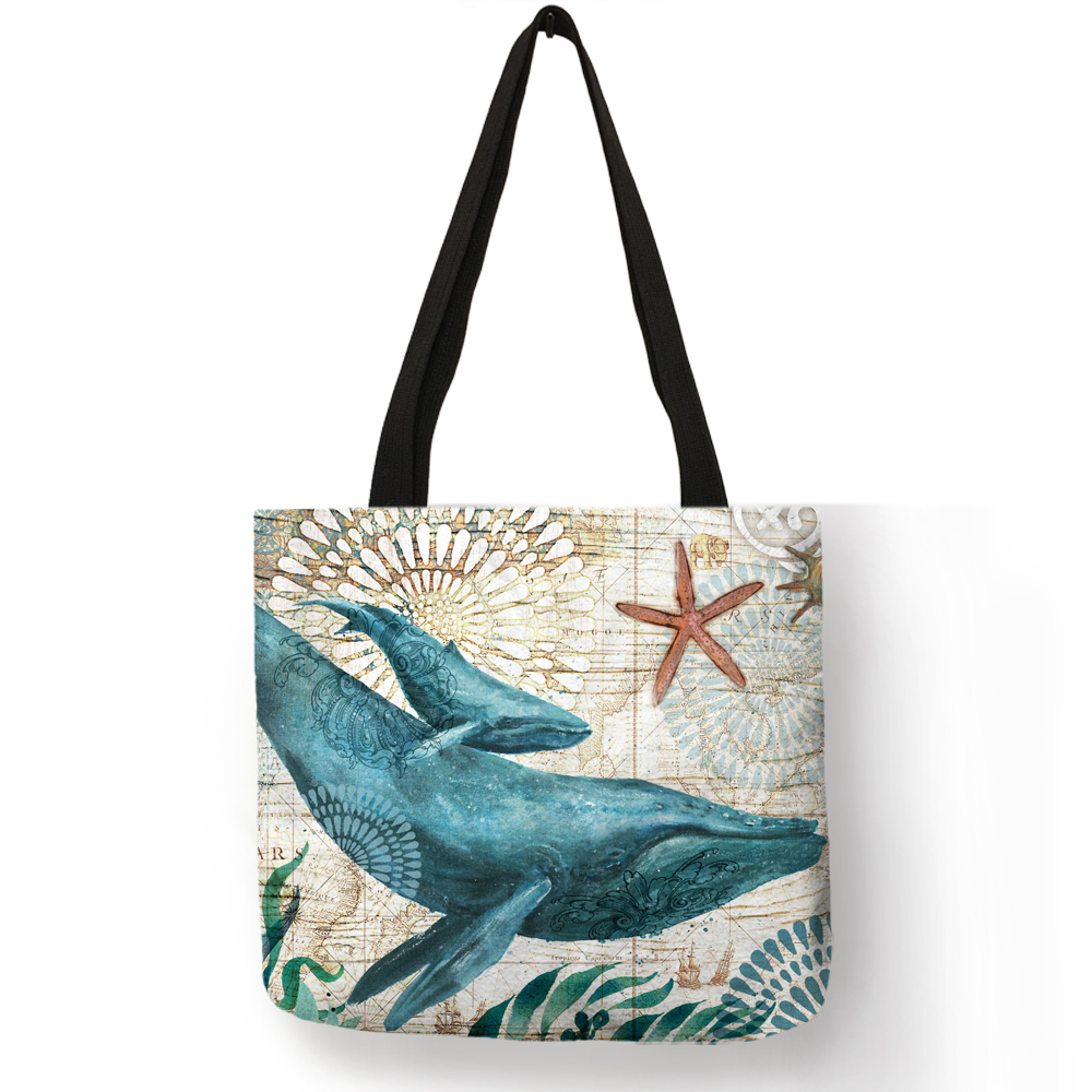 Customize Tote Bag Seahorse Turtle Octopus Pattern Traveling Shoulder Bags Eco Linen Shopping Bags For Women with Print 7