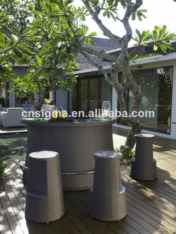 New Design Garden Furniture Rattan Outdoor Bar Sets