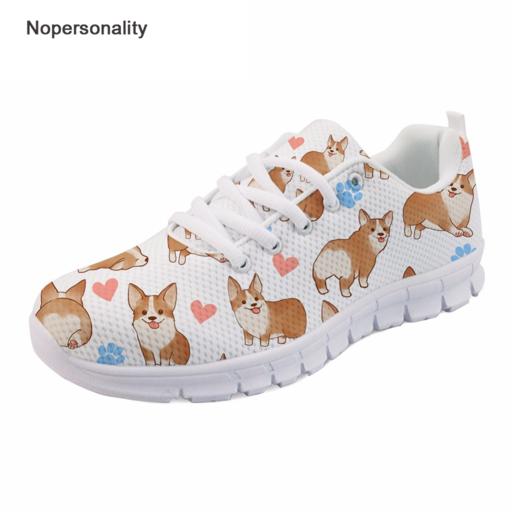 Nopersonality White Corgi Dog Print Mesh Shoes Breathable Women Spring Autumn Sneakers Trendy Fashion Female Ladies Mesh Flats