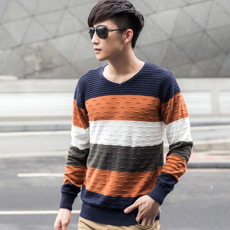 Men Striped Sweater V Neck Jumper Autumn Winter Cotton Brand Mens Best Men's Sweater Patterns