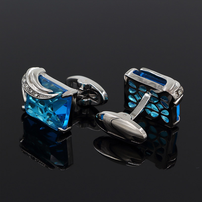 Luxury Austria Crystal Design Mens Cuff Links Wedding Shirt Cuff Gifts for Mens Wholesale 5colors