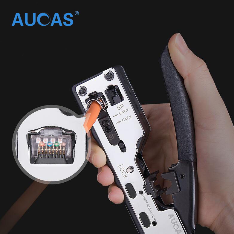 AUCAS 2018 New Multifunction Network tool Stapler type Cat7 Cat6 Cat5 Cable Crimping Crimper