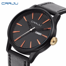 CRRJU Mens Military Style  Business Watch Casual Mens Watches Top Brand Luxury Quartz-watch Water Resistant Wristwatches