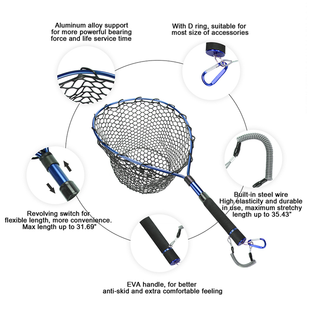 Rubber Fishing Net Telescopic Aluminum Alloy Frame With Magnetic Clip Lanyard