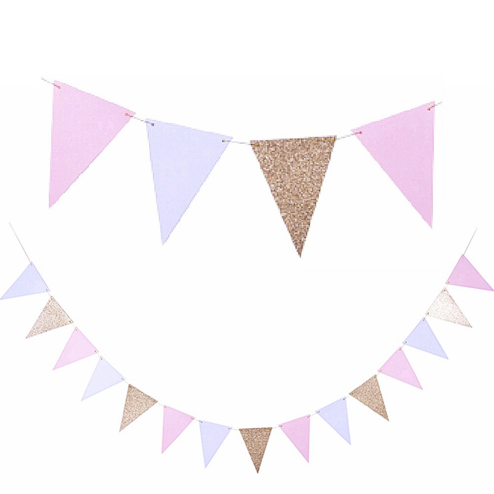 Big 10ft Gold Pink White Party Banner Flag Pennant Garland For Baby Shower Bridal Shower Birthday Party Holidays Photo Backdrop