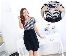 New Summer Clothes Lactation Stripe Splicing   Short Sleeve Dress Feeding Breastfeeding Clothes O-Neck Dresses