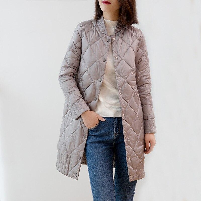 Kadın Giyim'ten Şişme Montlar'de 2018 Kadın Ultra Hafif Aşağı Ceketler Sonbahar Kış Ince Beyaz Ördek Aşağı Ceket Parka Kadın Katı Midi Uzun Dış Giyim Ceket AB990'da  Grup 1