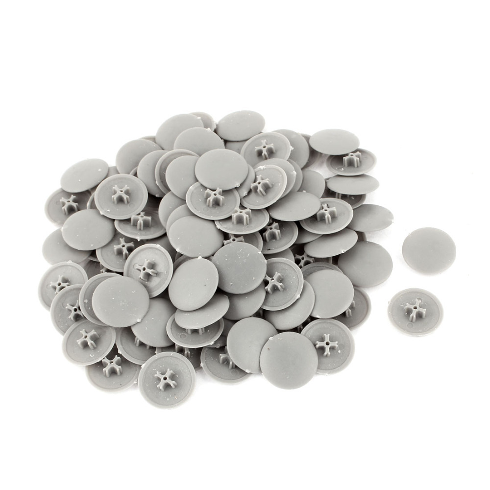 UXCELL 100pcs 17mmx4mm Plastic Round Shape Phillips Screw Cap Cover High Quantity