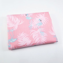 Flamingo Printed Cotton Fabric Pink Twill For DIY Patchwork Sewing Material Handmade Quilting Crafts Supply
