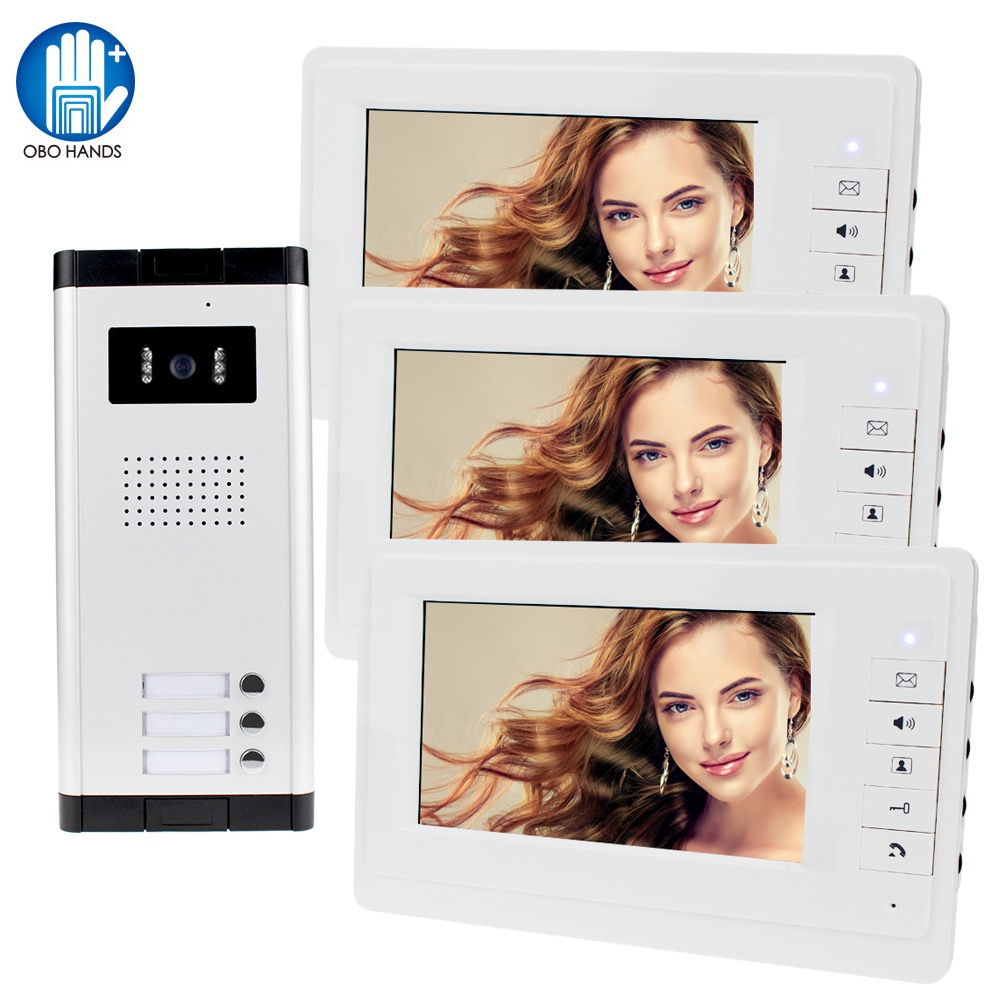 Wired Home 7 Inch TFT Video Intercom Doorbell System RFID Camera With 2/3/4 Monitor Doorphone For Multi Apartment Access Control