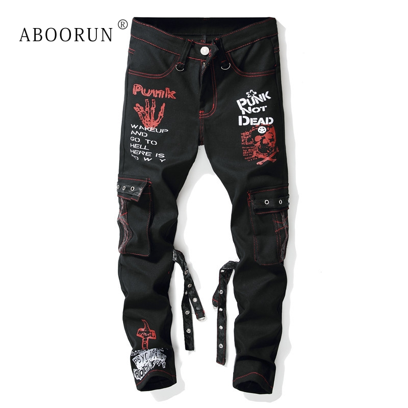 ABOORUN Brand Printed   Jeans   Men's Punk Skinny   Jeans   Leather Ribbons Male Hip Hop Streetwear   Jeans   x1613