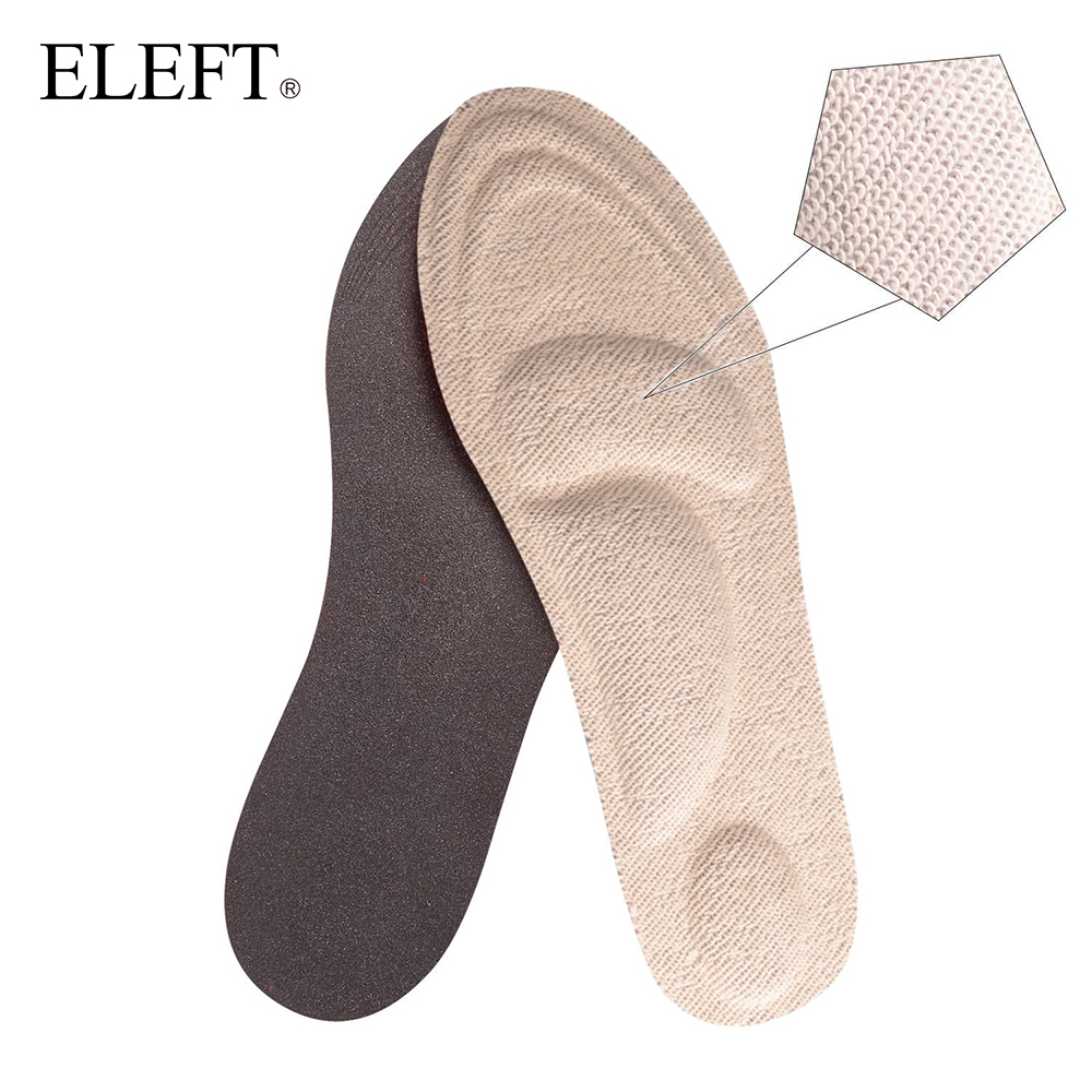 ELEFT 4D Towel Terry Cloth Sponge Arch Support Warm Insoles Inserts with Heating Material for Women Men Walking Shoes High Heels