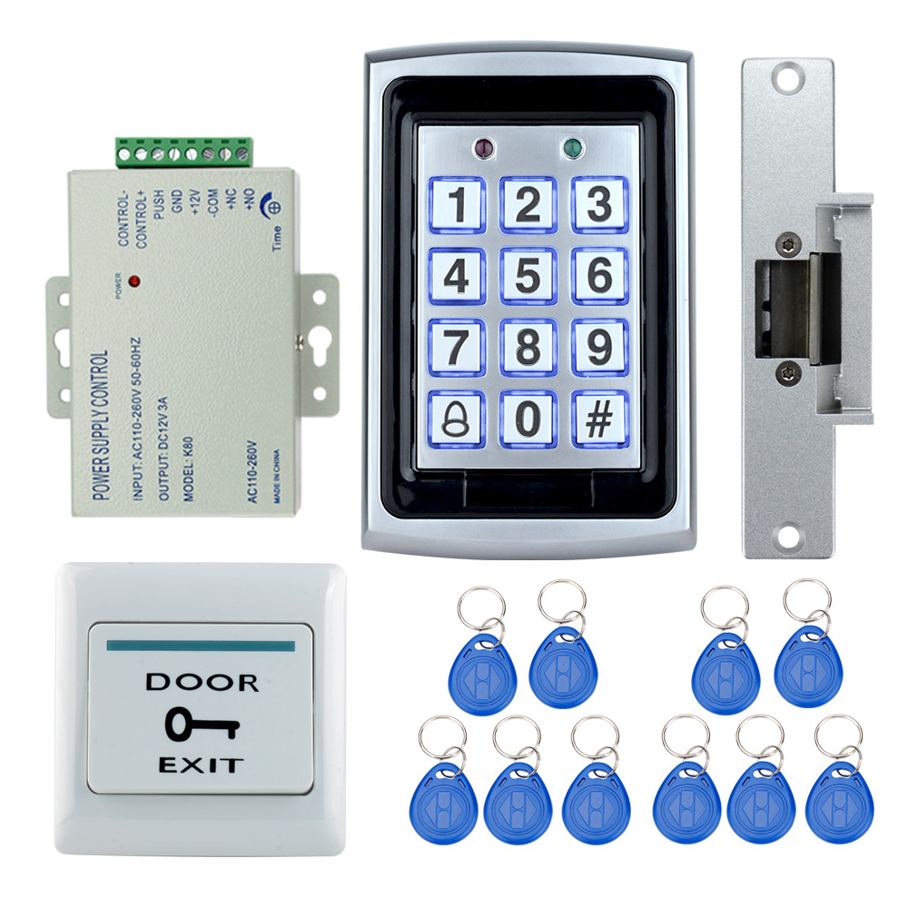 Access control system kit set 7612 model metal keypad+electric strike lock+power supply+exit button+10 rfid keychains hot sale