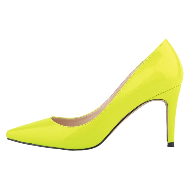 Loslandifen Women S Pointed Toe Stiletto High Heeled Shallow Mouth Heels Shoes Light Yellow