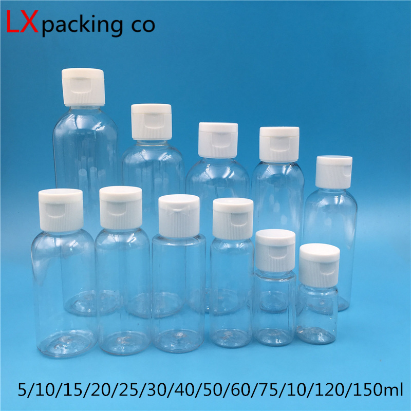 50 Pcs 60 100 150 Ml Empty Transparent Plastic Pack Clamshell Water Bottle Crystal Clear Flip Top Cap Packaging Mini Containers