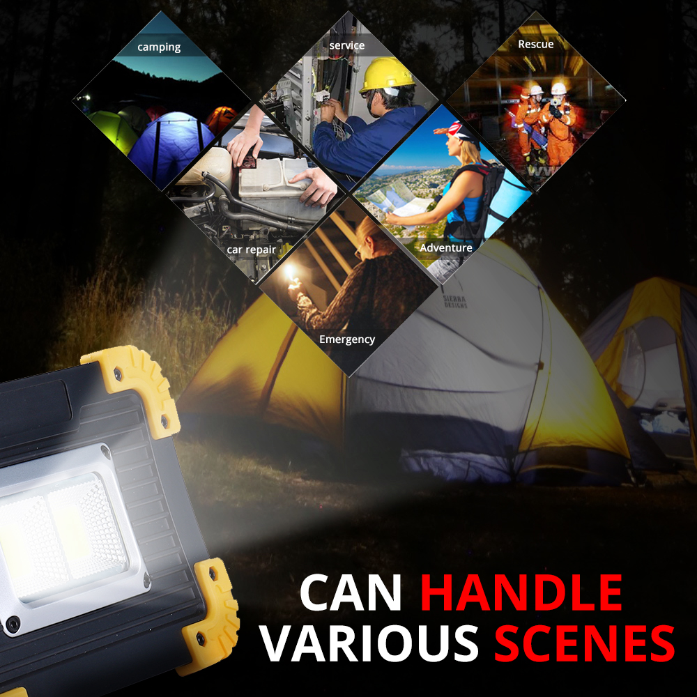 Купить с кэшбэком 100W Led Portable Spotlight 30000lm Super Bright Led Work Light Rechargeable for Outdoor Camping Lampe Led Flashlight use 18650
