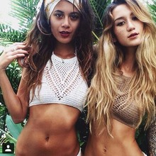 2017 Hot Sale Women Sexy Knitted Crochet Bra Bikini Crop Tops Camis Tank Black White Khaki Color