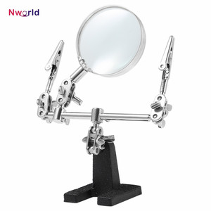 New Standing style Third Hand Soldering Iron Stand Helping Clamp Vise Clip Tool Glass Jeweler Loupe Magnifying Glass