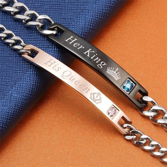 Aziz bekkaoui diy son roi sa reine couple bracelets en acier inoxydable crytal couronne charme bracelets pour femmes hommes drop shipping 1