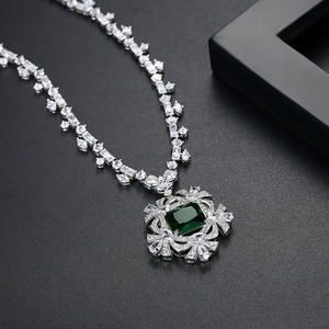 Image 5 - LUOTEEMI New Big Flower Pendant Necklace for Women for Wedding Party Luxury CZ Jewelry Red and Green Collar Mujer Christmas Gift