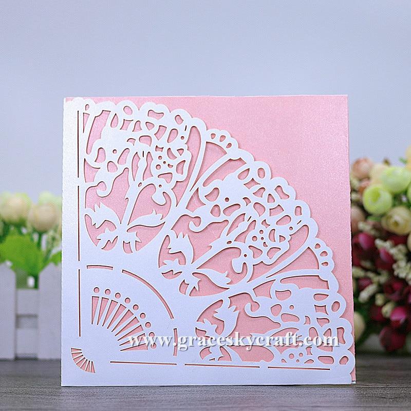50 stücke geben verschiffen laser cut fan form papier weddinng einladungskarten mit innenzuschnitt papier partei einladung, text kundenspezifische