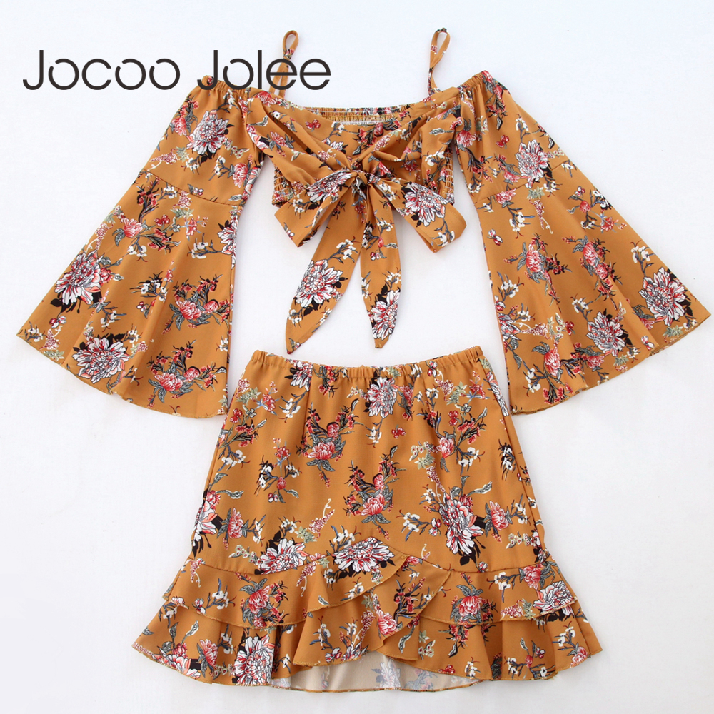 Jocoo Jolee Sexy Lace-up Floral Print Women Suits Off Shoulder Short Tops With Flare Sleeves Design Ruffle Mini Dress 2pcs 2018