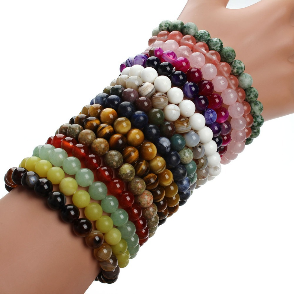 2017 Fashion Natural Stone Bracelets For Women Men Rose Quartzs Tiger Eyes Agates Beaded Yoga Bracelets Pulseira Masculina F2852
