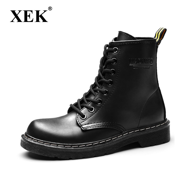 XEK 2018 Leather Women Boots Dr Martin boots shoes High Top Motorcycle Autumn Winter shoes woman snow Boot size 35-43 ZLL441 women boots plus size 35 43 genuine leather autumn winter ankle boots black wine red shoes woman brand fashion motorcycle boot