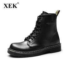 XEK 2018 Leather Women Boots Dr Martin boots shoes High Top Motorcycle Autumn Winter shoes woman snow Boot size 35-43 ZLL441(China)