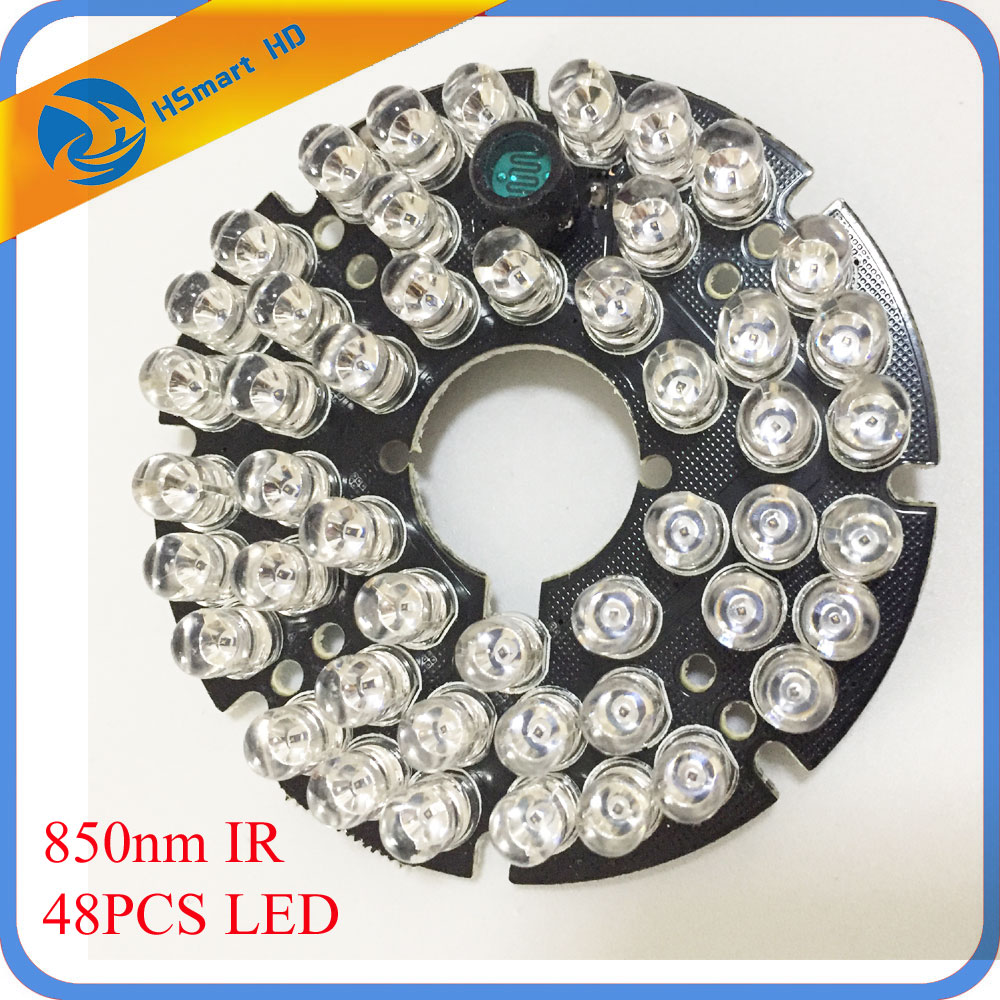 New Hot 48 LEDs 5mm Infrared IR 60 Degrees Bulbs Board 850nm For CCTV AHD TVI 1080P Wifi 60 Camera 60 Degree 15m Night Vision 24 ir leds infrared ir board for security camera cctv dome camera 90 degrees camera led board