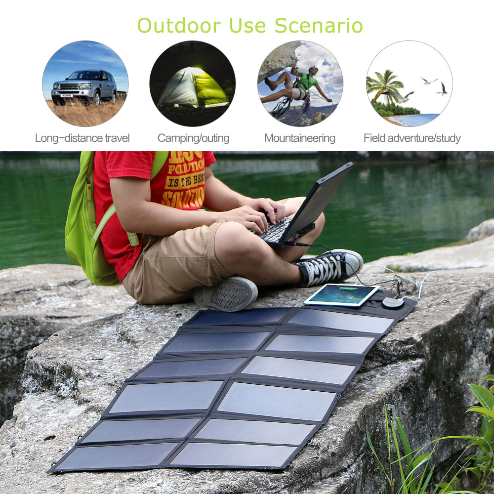 Allpowers Zonnepaneel 80W Solar Battery Charger Voor Iphone Sumsung Telefoons Lenovo Hp Dell Acer Laptops 12V Auto batterij Etc. - 6