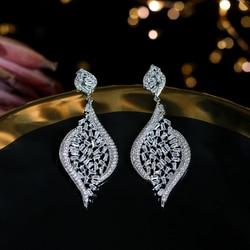 Moda de lujo grande geometrica CZ pendientes de circonio cubico senoras pendientes de la boda pendientes moda mujer