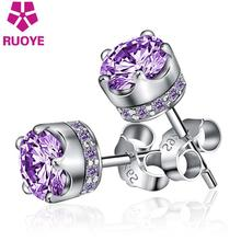 2017 Fashion purple white Luxury Crystal Earring For Women Men Stud Earrings Imperial Crown King Silver Jewelry wholesale