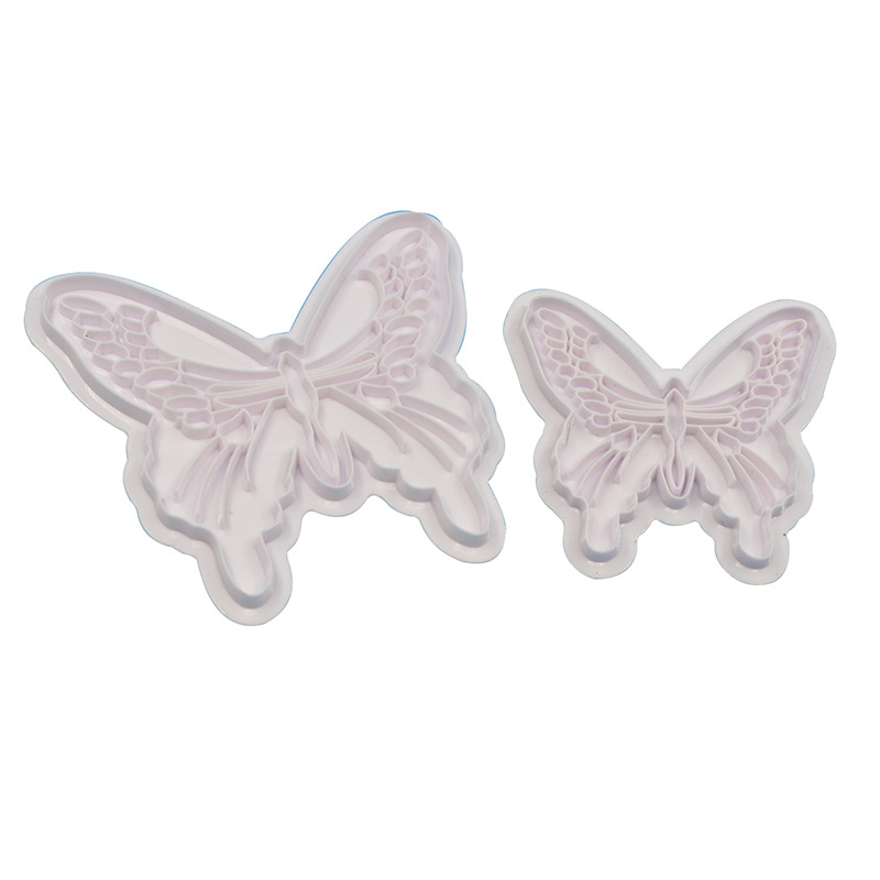 2 Pcs set Food Grade Plastic Butterfly Shape Mold Cake Fondant Decorating Cookie Plunger Cutters DIY Baking Molds Pastry Tools in Cake Molds from Home Garden