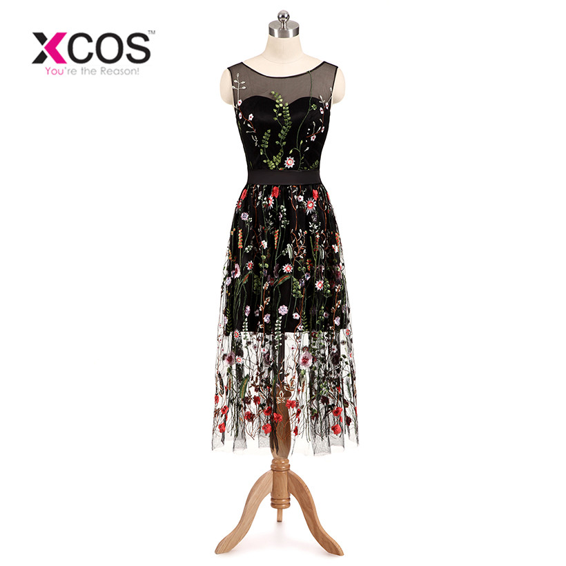 XCOS Real Sample Pretty Colorful 3D Flowers Leaf Black Tulle Short   Prom     Dresses   for Girls Formal Gown 2018 Vestido De Festa