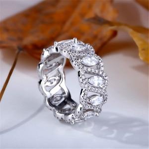 Image 5 - Vecalon Sexy promesse fleur anneau 925 en argent sterling 5A Zircon Cz fiançailles bague de mariage anneaux pour femmes hommes bijoux meilleur cadeau