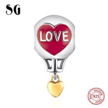 Silver 925 Original Charms hydrogen balloon Beads with red enamel Fit Authentic pandora Bracelet diy Jewelry making Women black flower baby girls tutu dress sleeveless tulle halloween cosplay animal cat costume for girls kids birthday party dresses