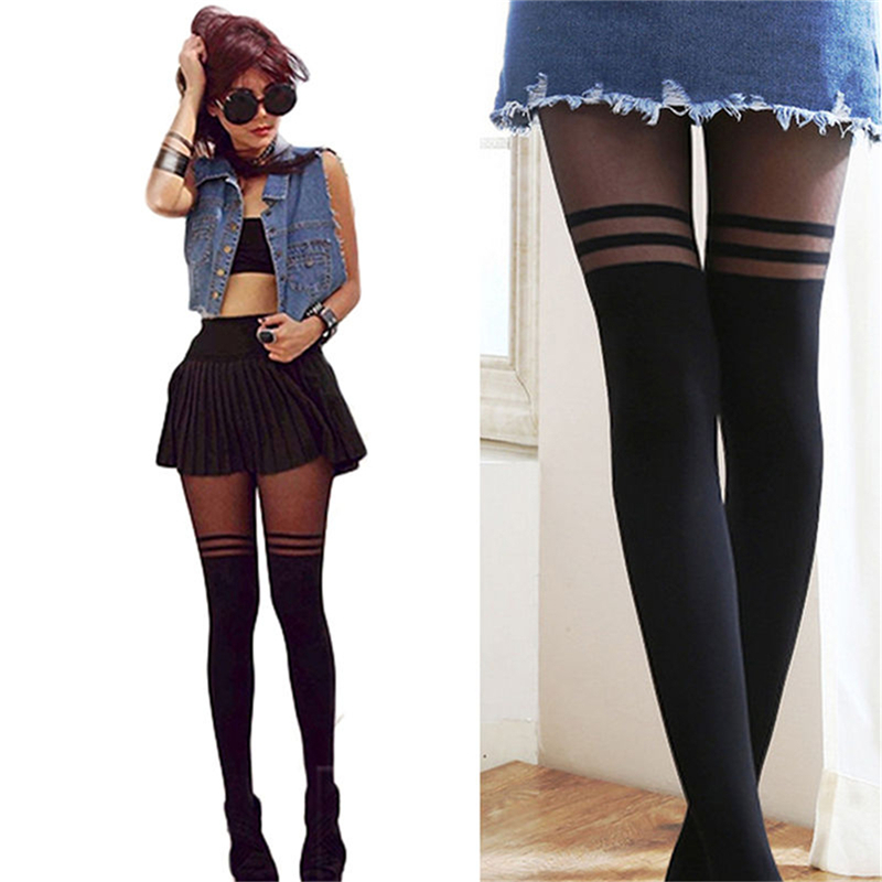 Black Sexy Women Girl Temptation Sheer Mock Suspender Tights Pantyhose Stockings