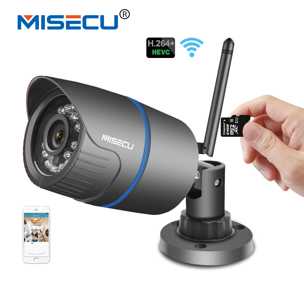 MISECU H.264+ Wifi 720P IP camera SD card 2.8mm Onvif 1280*720P P2P Wireless email alert Night vision IR Outdoor CCTV security wifi ipc 720p 1280 720p household camera onvif with allbrand camera free shipping