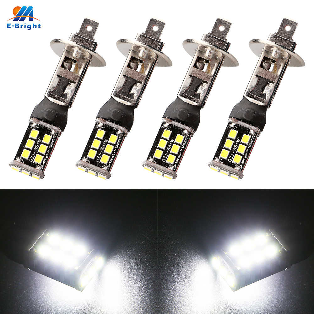4PCS H1 H3 LED Headlight 2835 15 SMD DC 12V Led 6500k WHITE Auto Fog light Driving Lamp Bulb