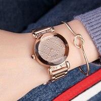 Luxury Brand lady Crystal Watch Women Dress Watch Fashion Rose Gold Quartz Watches Female Stainless Steel Wristwatches 2018