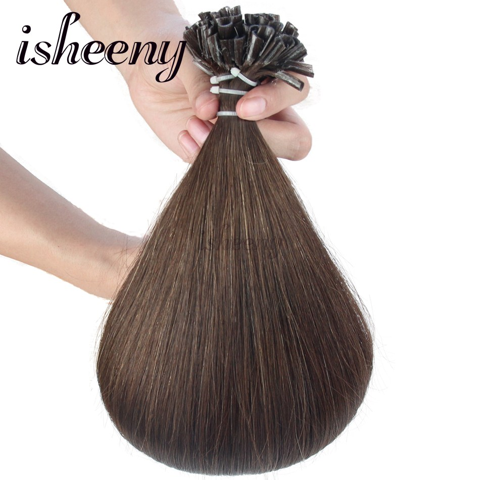 Isheeny 4# 14 18 20 22 100% Real Remy Fusion Middle brown Keratin Tip