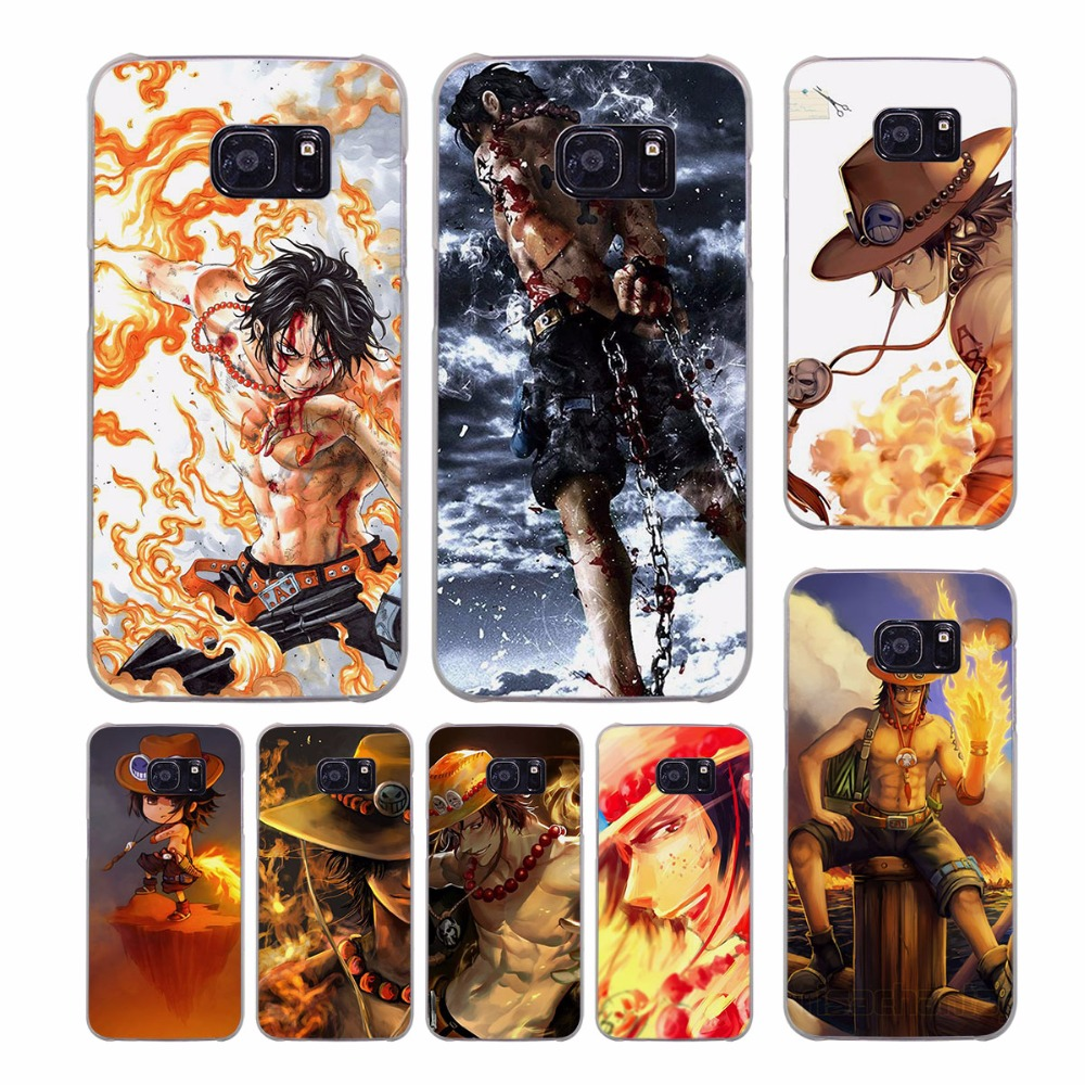 One Piece Ace design transparent clear hard case cover for Samsung Galaxy S7 S8 Plus S6 S7 edge S5 S4 mini