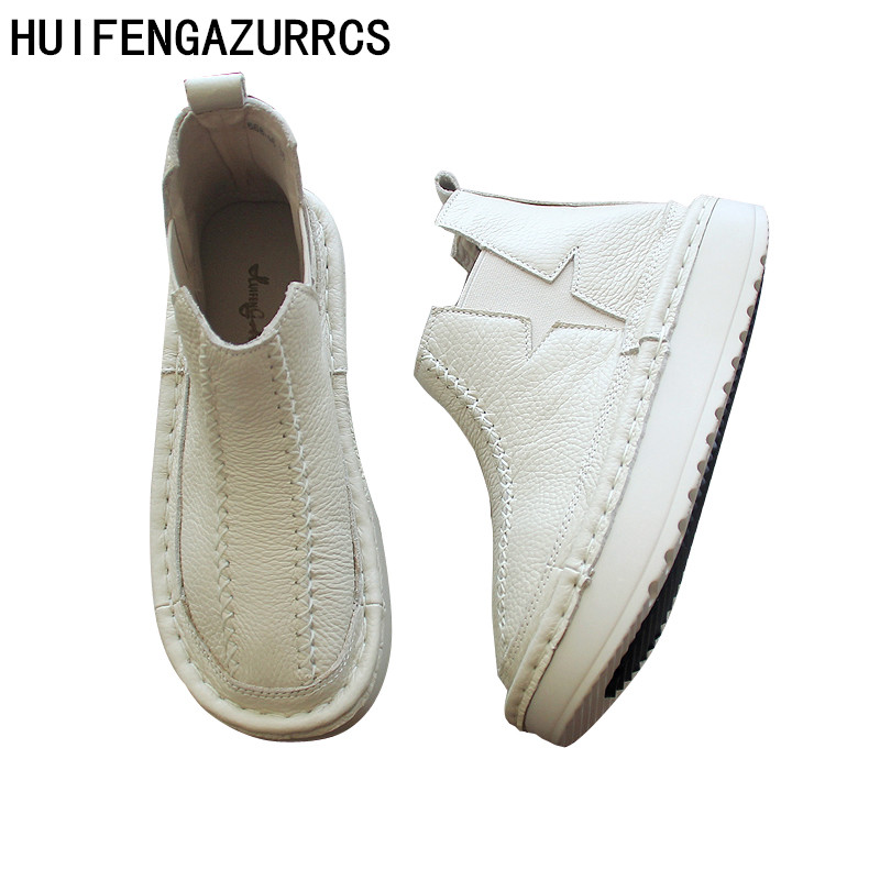 цена HUIFENGAZURRCS-Martin boots comfortable flat bottomed boots, comfortable real leather boots, pure handmade muffins and boots в интернет-магазинах